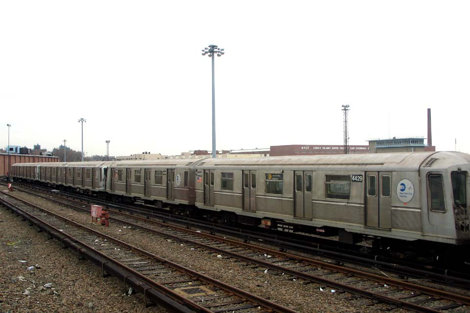 (84k, 960x640)<br><b>Country:</b> United States<br><b>City:</b> New York<br><b>System:</b> New York City Transit<br><b>Location:</b> Coney Island Yard<br><b>Car:</b> R-40 (St. Louis, 1968)  4429 <br><b>Photo by:</b> Michael Pompili<br><b>Date:</b> 4/3/2004<br><b>Viewed (this week/total):</b> 1 / 2161