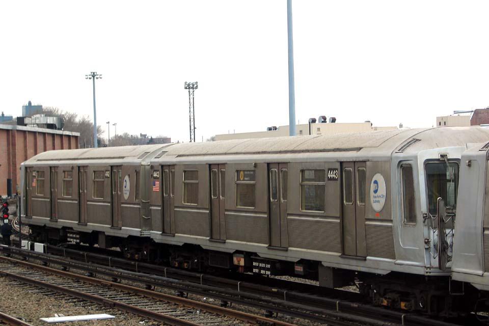 (77k, 960x640)<br><b>Country:</b> United States<br><b>City:</b> New York<br><b>System:</b> New York City Transit<br><b>Location:</b> Coney Island Yard<br><b>Car:</b> R-40 (St. Louis, 1968)  4443 <br><b>Photo by:</b> Michael Pompili<br><b>Date:</b> 4/3/2004<br><b>Viewed (this week/total):</b> 1 / 2109