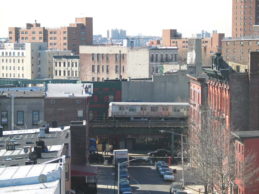 (111k, 853x640)<br><b>Country:</b> United States<br><b>City:</b> New York<br><b>System:</b> New York City Transit<br><b>Line:</b> BMT Nassau Street/Jamaica Line<br><b>Location:</b> Myrtle Avenue <br><b>Route:</b> J<br><b>Car:</b> R-42 (St. Louis, 1969-1970)  4595 <br><b>Photo by:</b> Michael Pompili<br><b>Date:</b> 2/26/2004<br><b>Viewed (this week/total):</b> 0 / 5842