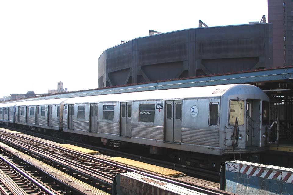 (93k, 960x640)<br><b>Country:</b> United States<br><b>City:</b> New York<br><b>System:</b> New York City Transit<br><b>Line:</b> BMT Nassau Street/Jamaica Line<br><b>Location:</b> Flushing Avenue <br><b>Route:</b> Z<br><b>Car:</b> R-42 (St. Louis, 1969-1970)  4897 <br><b>Photo by:</b> Michael Pompili<br><b>Date:</b> 3/23/2004<br><b>Viewed (this week/total):</b> 2 / 2744