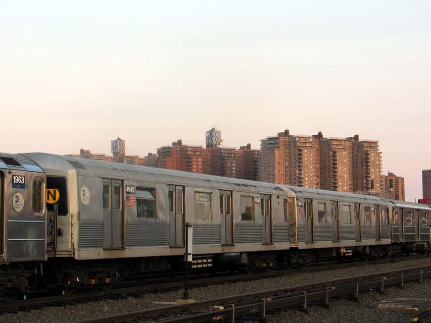(70k, 853x640)<br><b>Country:</b> United States<br><b>City:</b> New York<br><b>System:</b> New York City Transit<br><b>Location:</b> Coney Island Yard<br><b>Car:</b> R-42 (St. Louis, 1969-1970)  4945 <br><b>Photo by:</b> Michael Pompili<br><b>Date:</b> 6/29/2004<br><b>Viewed (this week/total):</b> 3 / 3926