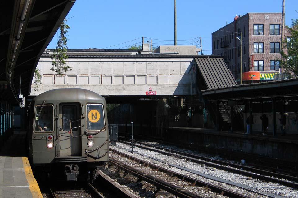 (117k, 960x640)<br><b>Country:</b> United States<br><b>City:</b> New York<br><b>System:</b> New York City Transit<br><b>Line:</b> BMT Sea Beach Line<br><b>Location:</b> 8th Avenue <br><b>Route:</b> N<br><b>Car:</b> R-68/R-68A Series (Number Unknown)  <br><b>Photo by:</b> Michael Pompili<br><b>Date:</b> 5/6/2004<br><b>Viewed (this week/total):</b> 0 / 3037