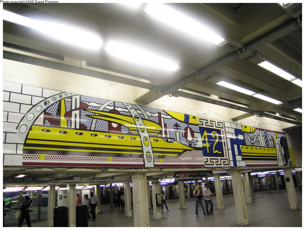 (209k, 1044x788)<br><b>Country:</b> United States<br><b>City:</b> New York<br><b>System:</b> New York City Transit<br><b>Line:</b> IRT Times Square-Grand Central Shuttle<br><b>Location:</b> Times Square <br><b>Photo by:</b> David Pirmann<br><b>Date:</b> 9/6/2005<br><b>Artwork:</b> <i>Times Square Mural</i>, Roy Lichtenstein (1994).<br><b>Viewed (this week/total):</b> 0 / 6689