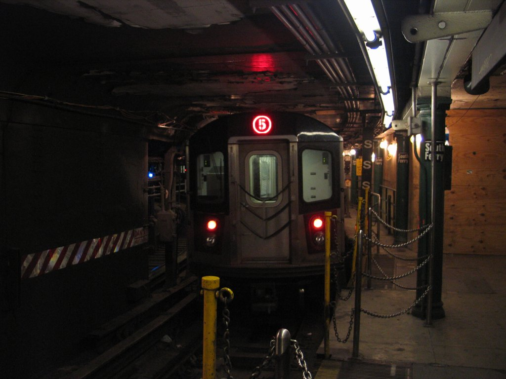 (113k, 1024x768)<br><b>Country:</b> United States<br><b>City:</b> New York<br><b>System:</b> New York City Transit<br><b>Line:</b> IRT West Side Line<br><b>Location:</b> South Ferry (Outer Loop Station) <br><b>Route:</b> 5<br><b>Car:</b> R-142 or R-142A (Number Unknown)  <br><b>Photo by:</b> Brian Weinberg<br><b>Date:</b> 9/11/2005<br><b>Notes:</b> Construction reroute had 2/5 trains stopping at South Ferry.<br><b>Viewed (this week/total):</b> 2 / 8771
