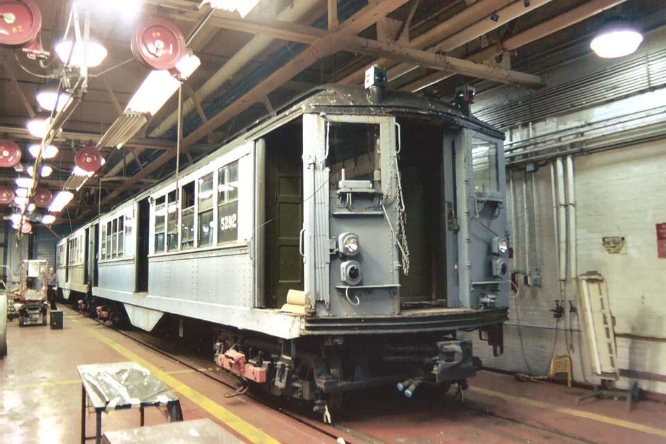 (107k, 960x640)<br><b>Country:</b> United States<br><b>City:</b> New York<br><b>System:</b> New York City Transit<br><b>Location:</b> Coney Island Shop-Paint Shop<br><b>Car:</b> Low-V (Museum Train) 5292 <br><b>Photo by:</b> Michael Pompili<br><b>Date:</b> 10/2003<br><b>Viewed (this week/total):</b> 0 / 2557