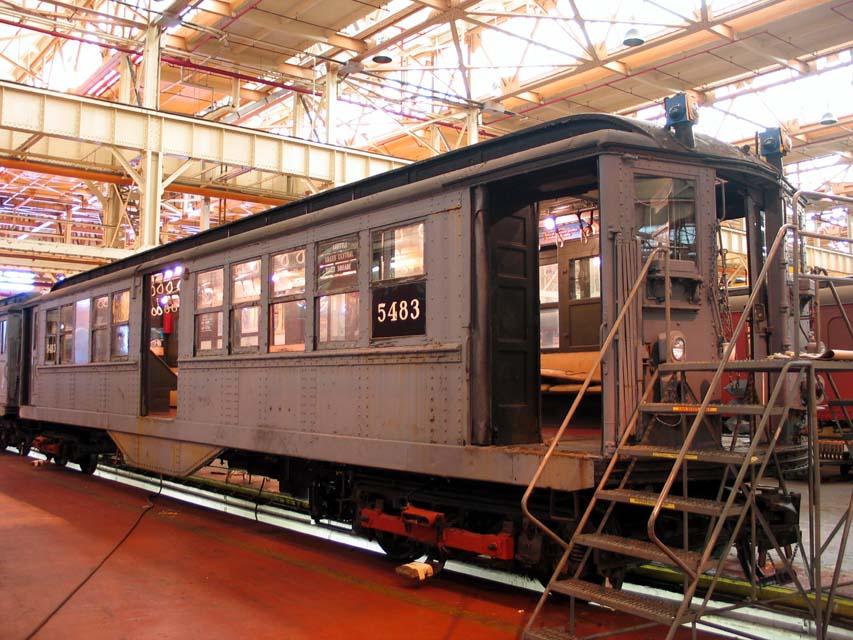 (127k, 853x640)<br><b>Country:</b> United States<br><b>City:</b> New York<br><b>System:</b> New York City Transit<br><b>Location:</b> Coney Island Shop/Overhaul & Repair Shop<br><b>Car:</b> Low-V (Museum Train) 5483 <br><b>Photo by:</b> Michael Pompili<br><b>Date:</b> 8/3/2004<br><b>Viewed (this week/total):</b> 0 / 2346