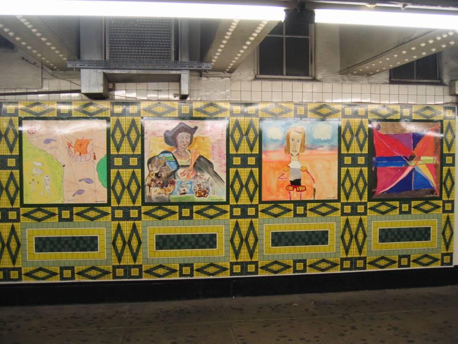 (103k, 909x682)<br><b>Country:</b> United States<br><b>City:</b> New York<br><b>System:</b> New York City Transit<br><b>Line:</b> IND 8th Avenue Line<br><b>Location:</b> 59th Street/Columbus Circle <br><b>Photo by:</b> Robbie Rosenfeld<br><b>Date:</b> 9/18/2005<br><b>Artwork:</b> <i>Hello Columbus</i>,  NYC Artists & Public School Students (1992).<br><b>Viewed (this week/total):</b> 2 / 2457