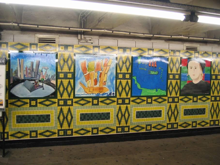 (111k, 909x682)<br><b>Country:</b> United States<br><b>City:</b> New York<br><b>System:</b> New York City Transit<br><b>Line:</b> IND 8th Avenue Line<br><b>Location:</b> 59th Street/Columbus Circle <br><b>Photo by:</b> Robbie Rosenfeld<br><b>Date:</b> 9/18/2005<br><b>Artwork:</b> <i>Hello Columbus</i>,  NYC Artists & Public School Students (1992).<br><b>Viewed (this week/total):</b> 5 / 2605