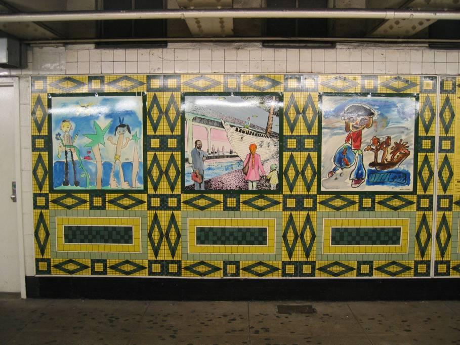 (119k, 909x682)<br><b>Country:</b> United States<br><b>City:</b> New York<br><b>System:</b> New York City Transit<br><b>Line:</b> IND 8th Avenue Line<br><b>Location:</b> 59th Street/Columbus Circle <br><b>Photo by:</b> Robbie Rosenfeld<br><b>Date:</b> 9/18/2005<br><b>Artwork:</b> <i>Hello Columbus</i>,  NYC Artists & Public School Students (1992).<br><b>Viewed (this week/total):</b> 4 / 2581