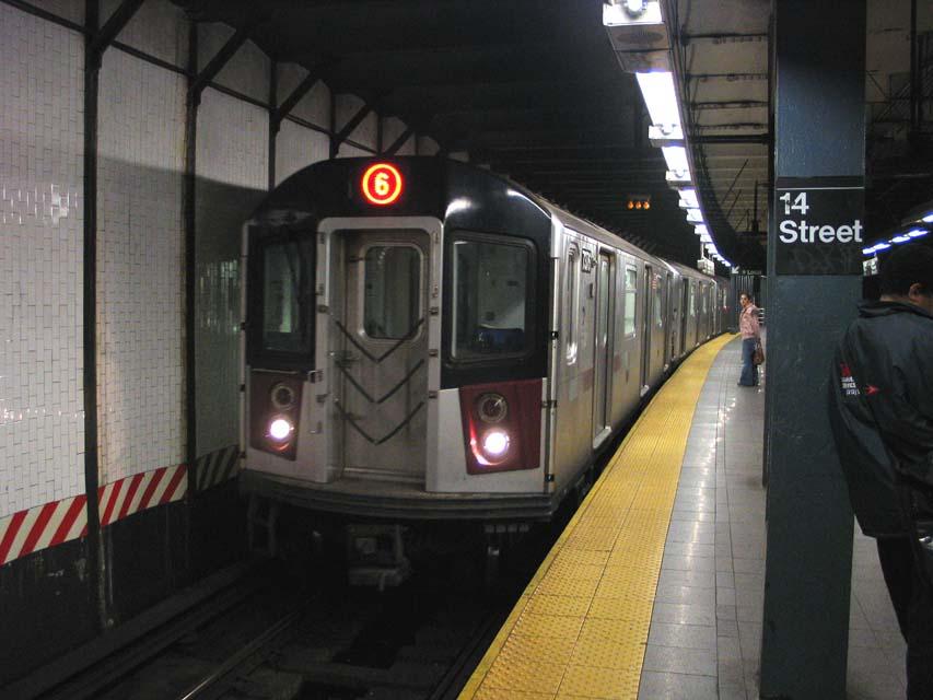 (79k, 853x640)<br><b>Country:</b> United States<br><b>City:</b> New York<br><b>System:</b> New York City Transit<br><b>Line:</b> IRT East Side Line<br><b>Location:</b> 14th Street/Union Square <br><b>Route:</b> 6<br><b>Car:</b> R-142A (Primary Order, Kawasaki, 1999-2002)  7576 <br><b>Photo by:</b> Michael Pompili<br><b>Date:</b> 10/27/2004<br><b>Viewed (this week/total):</b> 1 / 5444