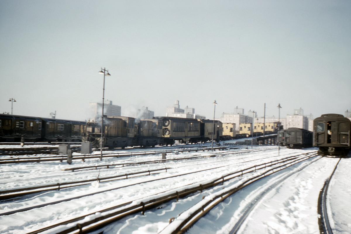 (294k, 1024x683)<br><b>Country:</b> United States<br><b>City:</b> New York<br><b>System:</b> New York City Transit<br><b>Location:</b> Coney Island Yard<br><b>Car:</b> Speno Rail Grinder  <br><b>Photo by:</b> Ed Davis, Sr.<br><b>Collection of:</b> David Pirmann<br><b>Date:</b> 1/28/1961<br><b>Viewed (this week/total):</b> 5 / 2543