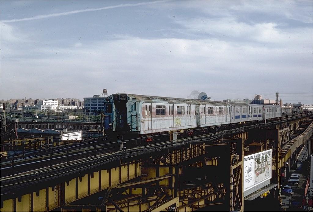(202k, 1024x694)<br><b>Country:</b> United States<br><b>City:</b> New York<br><b>System:</b> New York City Transit<br><b>Line:</b> IRT Flushing Line<br><b>Location:</b> Queensborough Plaza <br><b>Route:</b> 7<br><b>Car:</b> R-36 World's Fair (St. Louis, 1963-64) 9603 <br><b>Photo by:</b> Steve Zabel<br><b>Collection of:</b> Joe Testagrose<br><b>Date:</b> 10/4/1981<br><b>Viewed (this week/total):</b> 3 / 3304