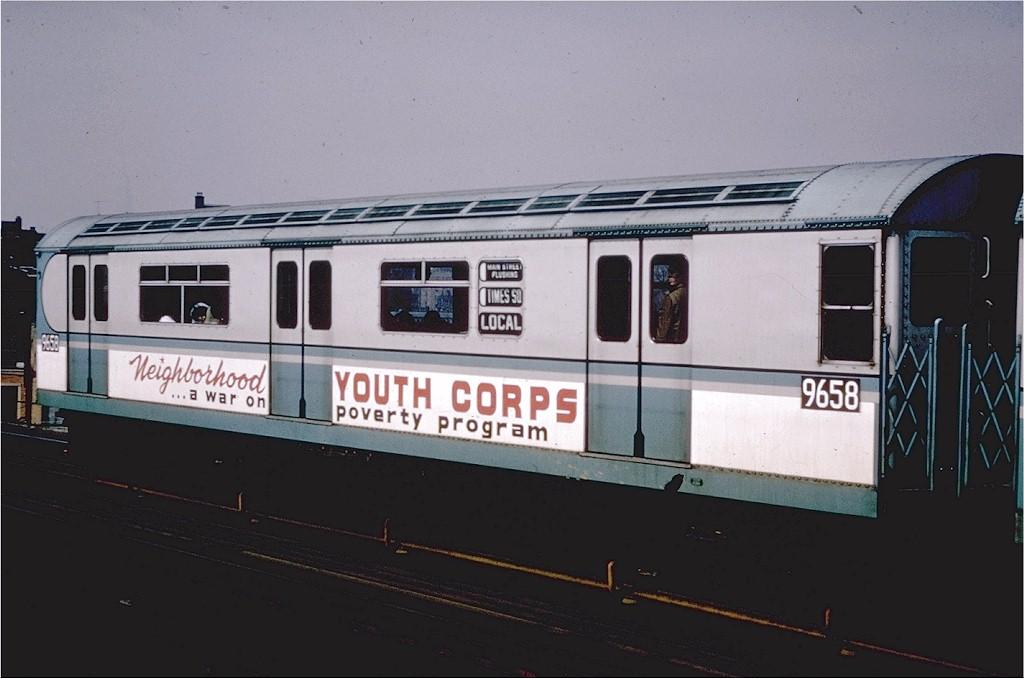 (143k, 1024x679)<br><b>Country:</b> United States<br><b>City:</b> New York<br><b>System:</b> New York City Transit<br><b>Line:</b> IRT Flushing Line<br><b>Location:</b> 52nd Street/Lincoln Avenue<br><b>Route:</b> 7<br><b>Car:</b> R-36 World's Fair (St. Louis, 1963-64) 9658 <br><b>Collection of:</b> Joe Testagrose<br><b>Notes:</b> Neighborhood Youth Corps car.<br><b>Viewed (this week/total):</b> 0 / 7313