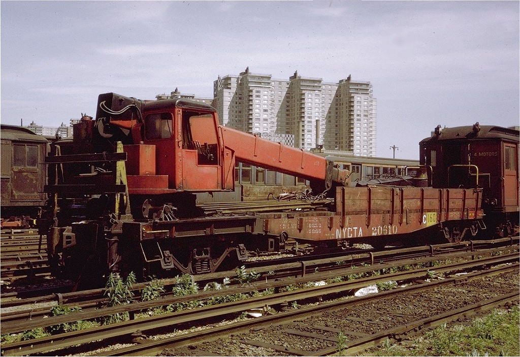(293k, 1024x703)<br><b>Country:</b> United States<br><b>City:</b> New York<br><b>System:</b> New York City Transit<br><b>Location:</b> Coney Island Yard<br><b>Car:</b> Crane Car 160 <br><b>Photo by:</b> Steve Zabel<br><b>Collection of:</b> Joe Testagrose<br><b>Date:</b> 6/1971<br><b>Viewed (this week/total):</b> 2 / 2291