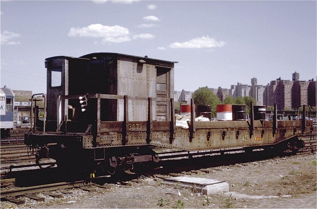 (233k, 1024x675)<br><b>Country:</b> United States<br><b>City:</b> New York<br><b>System:</b> New York City Transit<br><b>Location:</b> Coney Island Yard<br><b>Car:</b> Flat Car 423 <br><b>Photo by:</b> Steve Zabel<br><b>Collection of:</b> Joe Testagrose<br><b>Date:</b> 5/17/1971<br><b>Viewed (this week/total):</b> 2 / 2169