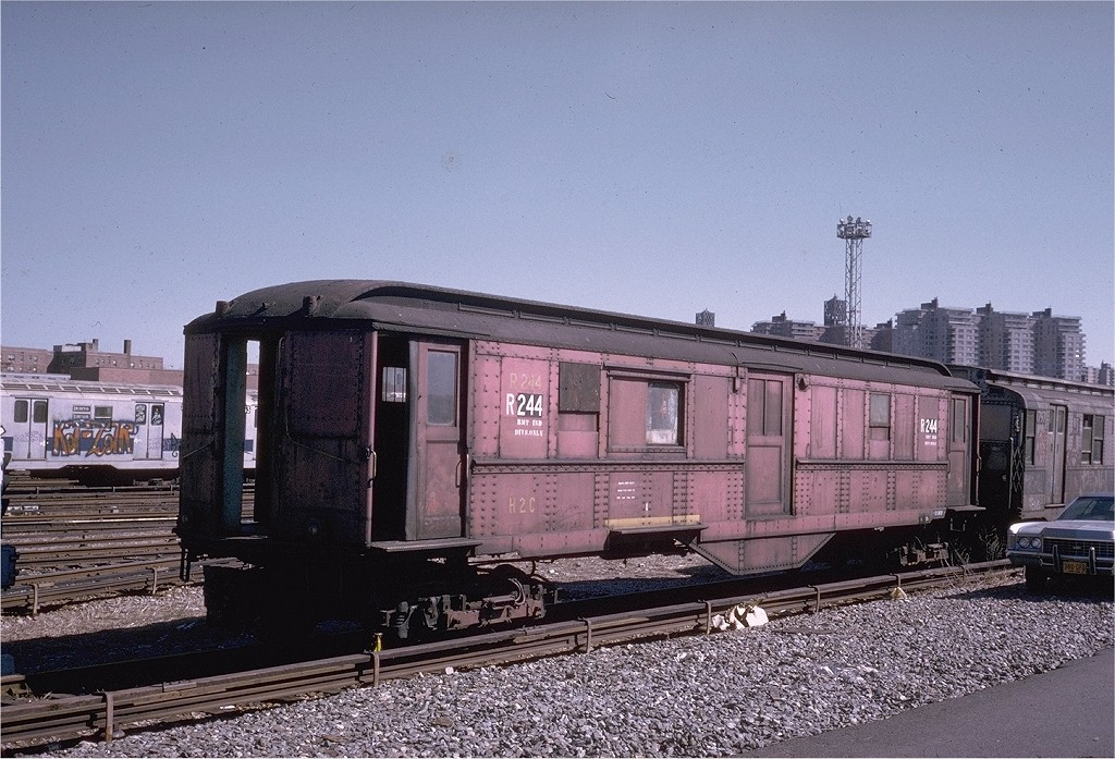 (229k, 1024x697)<br><b>Country:</b> United States<br><b>City:</b> New York<br><b>System:</b> New York City Transit<br><b>Location:</b> Coney Island Yard<br><b>Car:</b> Low-V R244 (ex-5622)<br><b>Photo by:</b> Steve Zabel<br><b>Collection of:</b> Joe Testagrose<br><b>Date:</b> 3/18/1974<br><b>Viewed (this week/total):</b> 0 / 2428
