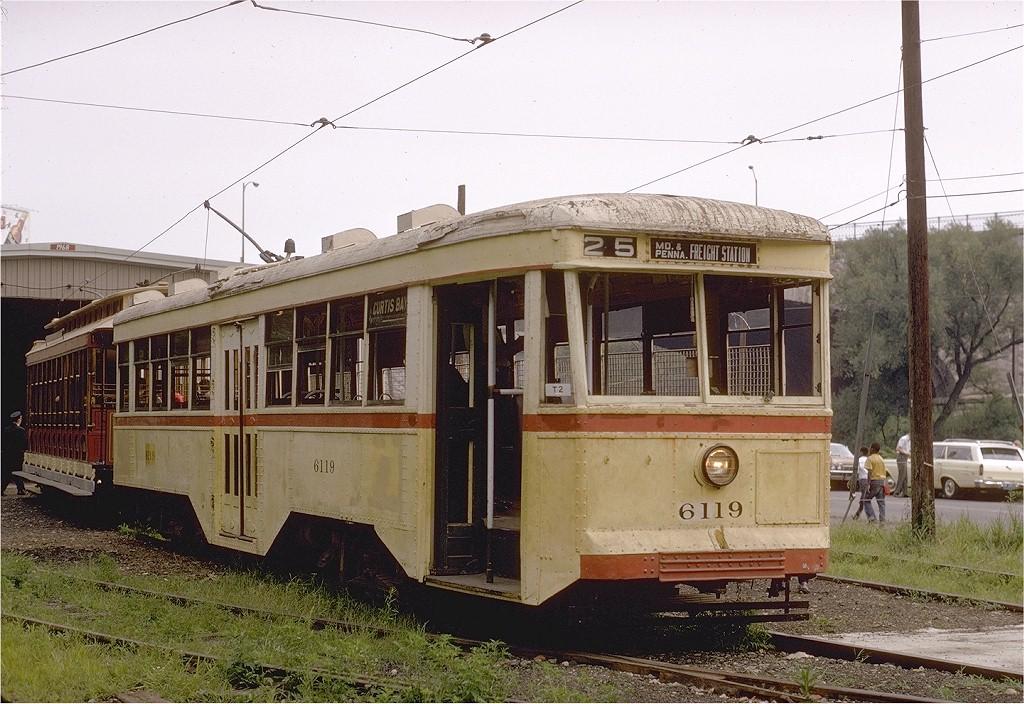 (228k, 1024x704)<br><b>Country:</b> United States<br><b>City:</b> Baltimore, MD<br><b>System:</b> Baltimore Streetcar Museum <br><b>Car:</b>  6119 <br><b>Photo by:</b> Gerald H. Landau<br><b>Collection of:</b> Joe Testagrose<br><b>Date:</b> 7/5/1970<br><b>Notes:</b> 7/5/1970, BSM's opening day.<br><b>Viewed (this week/total):</b> 5 / 1885