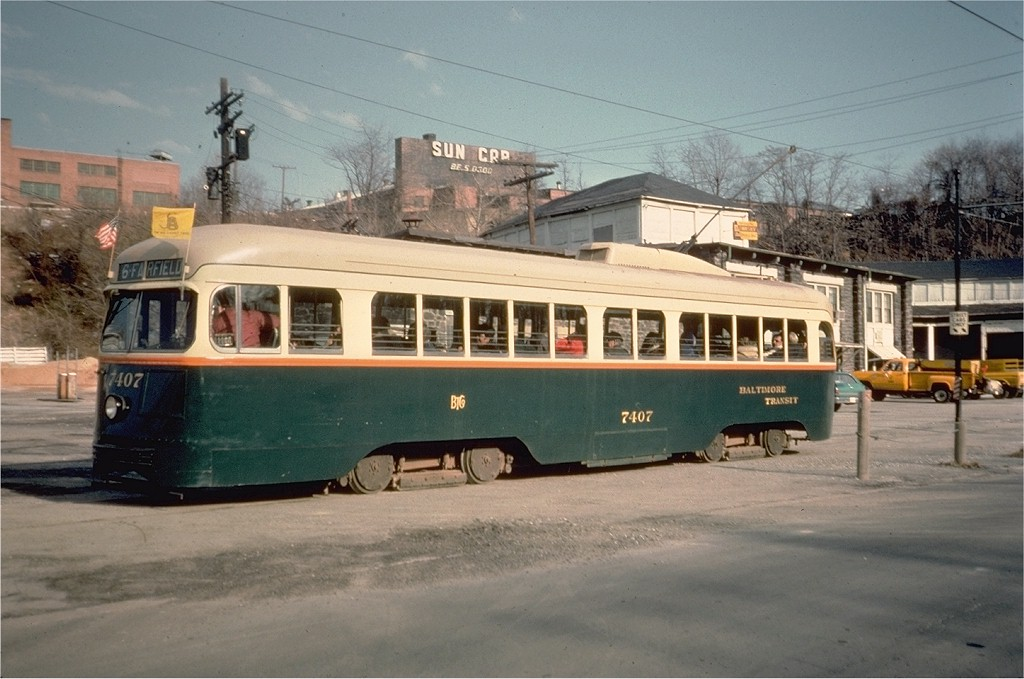 (174k, 1024x679)<br><b>Country:</b> United States<br><b>City:</b> Baltimore, MD<br><b>System:</b> Baltimore Streetcar Museum <br><b>Car:</b> PCC 7407 <br><b>Collection of:</b> Joe Testagrose<br><b>Date:</b> 2/1976<br><b>Viewed (this week/total):</b> 0 / 1199
