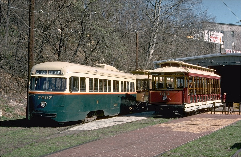 (297k, 1024x669)<br><b>Country:</b> United States<br><b>City:</b> Baltimore, MD<br><b>System:</b> Baltimore Streetcar Museum <br><b>Car:</b> PCC 7407 <br><b>Photo by:</b> Doug Grotjahn<br><b>Collection of:</b> Joe Testagrose<br><b>Date:</b> 3/28/1976<br><b>Viewed (this week/total):</b> 1 / 1044