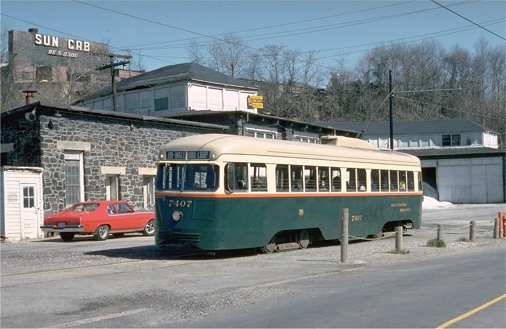 (240k, 1024x667)<br><b>Country:</b> United States<br><b>City:</b> Baltimore, MD<br><b>System:</b> Baltimore Streetcar Museum <br><b>Car:</b> PCC 7407 <br><b>Collection of:</b> Joe Testagrose<br><b>Date:</b> 3/28/1976<br><b>Viewed (this week/total):</b> 1 / 1282