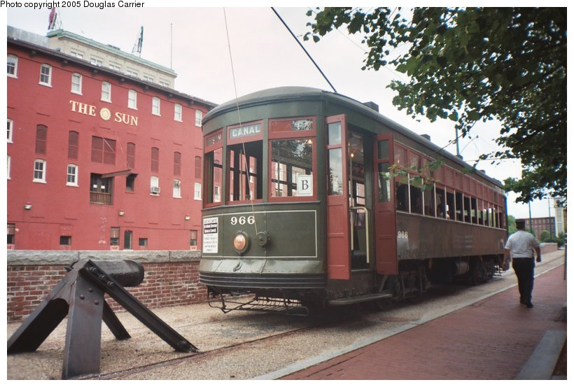 (131k, 820x553)<br><b>Country:</b> United States<br><b>City:</b> Lowell, MA<br><b>System:</b> National Streetcar Museum at Lowell <br><b>Car:</b> New Orleans Public Service (Perley A. Thomas Car Works, 1924) 966 <br><b>Photo by:</b> Douglas Carrier<br><b>Date:</b> 8/20/2005<br><b>Notes:</b> New Orleans 966 behind the Lowell Sun building (canal in between) just off East Merrimack Street.<br><b>Viewed (this week/total):</b> 1 / 3873