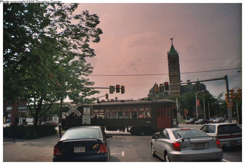 (118k, 820x553)<br><b>Country:</b> United States<br><b>City:</b> Lowell, MA<br><b>System:</b> National Streetcar Museum at Lowell <br><b>Car:</b> New Orleans Public Service (Perley A. Thomas Car Works, 1924) 966 <br><b>Photo by:</b> Douglas Carrier<br><b>Date:</b> 8/20/2005<br><b>Notes:</b> New Orleans 966 crossing Merrimack Street on Dutton Street.<br><b>Viewed (this week/total):</b> 1 / 2769