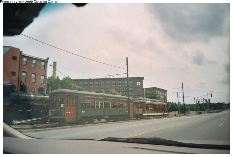 (76k, 820x553)<br><b>Country:</b> United States<br><b>City:</b> Lowell, MA<br><b>System:</b> National Streetcar Museum at Lowell <br><b>Car:</b> New Orleans Public Service (Perley A. Thomas Car Works, 1924) 966 <br><b>Photo by:</b> Douglas Carrier<br><b>Date:</b> 8/20/2005<br><b>Notes:</b> New Orleans 966 at main station on Dutton Street by the B & M engine, Lowell Replica 1601 (Gomaco) behind 966.<br><b>Viewed (this week/total):</b> 0 / 2969
