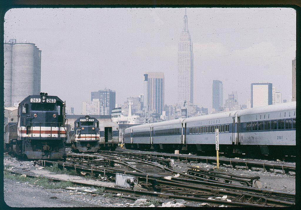 (163k, 1024x716)<br><b>Country:</b> United States<br><b>City:</b> New York<br><b>System:</b> Long Island Rail Road<br><b>Line:</b> LIRR Long Island City<br><b>Location:</b> Long Island City <br><b>Car:</b> LIRR GP38-2 (Diesel) 263 <br><b>Photo by:</b> Steve Hoskins<br><b>Notes:</b> 1970s<br><b>Viewed (this week/total):</b> 0 / 1652