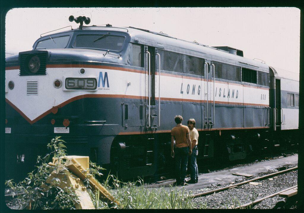 (128k, 1024x716)<br><b>Country:</b> United States<br><b>City:</b> New York<br><b>System:</b> Long Island Rail Road<br><b>Line:</b> LIRR Long Island City<br><b>Location:</b> Long Island City <br><b>Car:</b> LIRR Alco FA2M (HEP/Cab Only) 609 <br><b>Photo by:</b> Steve Hoskins<br><b>Notes:</b> 1970s<br><b>Viewed (this week/total):</b> 2 / 1246