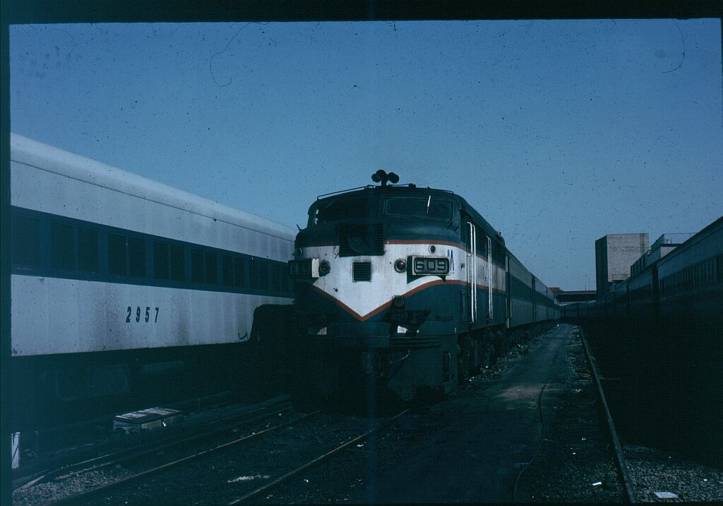 (86k, 1024x716)<br><b>Country:</b> United States<br><b>City:</b> New York<br><b>System:</b> Long Island Rail Road<br><b>Line:</b> LIRR Long Island City<br><b>Location:</b> Long Island City <br><b>Car:</b> LIRR Alco FA2M (HEP/Cab Only) 609 <br><b>Photo by:</b> Steve Hoskins<br><b>Notes:</b> 1970s<br><b>Viewed (this week/total):</b> 0 / 1129