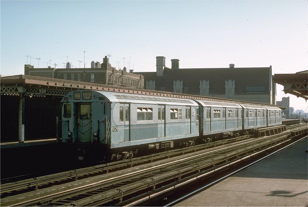 (204k, 1024x691)<br><b>Country:</b> United States<br><b>City:</b> New York<br><b>System:</b> New York City Transit<br><b>Line:</b> IRT Woodlawn Line<br><b>Location:</b> Fordham Road <br><b>Route:</b> Fan Trip<br><b>Car:</b> R-33 World's Fair (St. Louis, 1963-64) 9329 <br><b>Photo by:</b> Joe Testagrose<br><b>Date:</b> 10/27/1974<br><b>Viewed (this week/total):</b> 0 / 2943