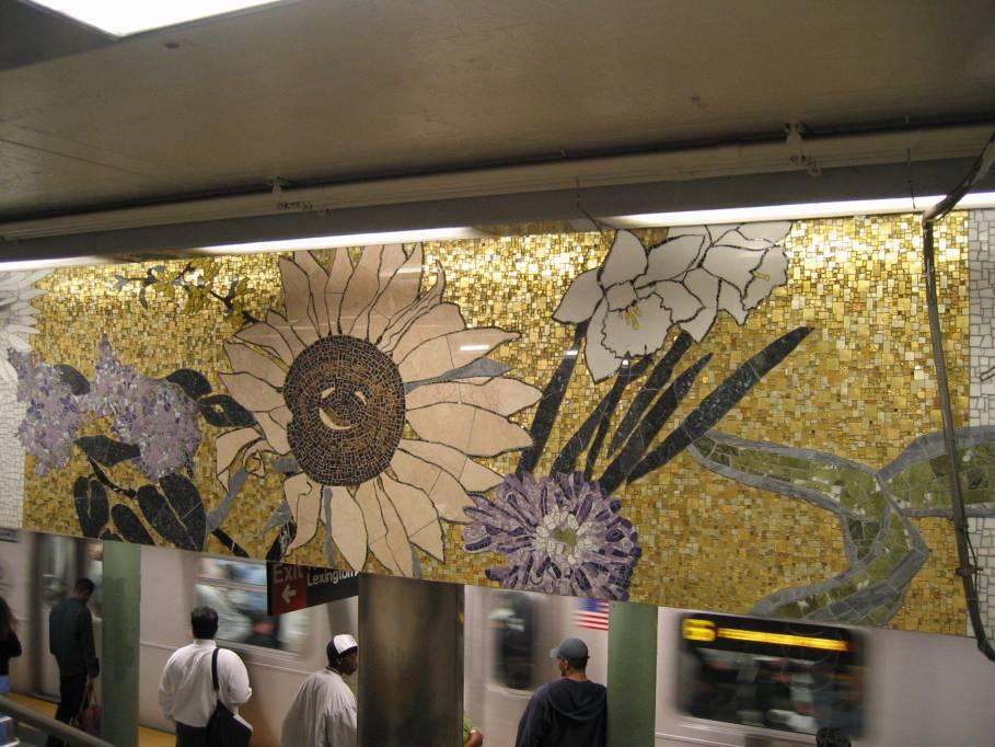 (94k, 909x682)<br><b>Country:</b> United States<br><b>City:</b> New York<br><b>System:</b> New York City Transit<br><b>Line:</b> IRT East Side Line<br><b>Location:</b> 77th Street <br><b>Photo by:</b> Robbie Rosenfeld<br><b>Date:</b> 9/2005<br><b>Artwork:</b> <i>4 Seasons Seasoned</i>, Robert Kushner (2004).<br><b>Viewed (this week/total):</b> 1 / 3756
