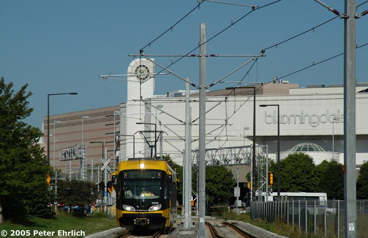 (147k, 720x467)<br><b>Country:</b> United States<br><b>City:</b> Minneapolis, MN<br><b>System:</b> MNDOT Light Rail Transit<br><b>Line:</b> Hiawatha Line<br><b>Location:</b> 24th Ave. <br><b>Car:</b> Bombardier Flexity Swift  103 <br><b>Photo by:</b> Peter Ehrlich<br><b>Date:</b> 8/27/2005<br><b>Notes:</b> East of 24th Avenue, with the Mall in the background.<br><b>Viewed (this week/total):</b> 0 / 2077