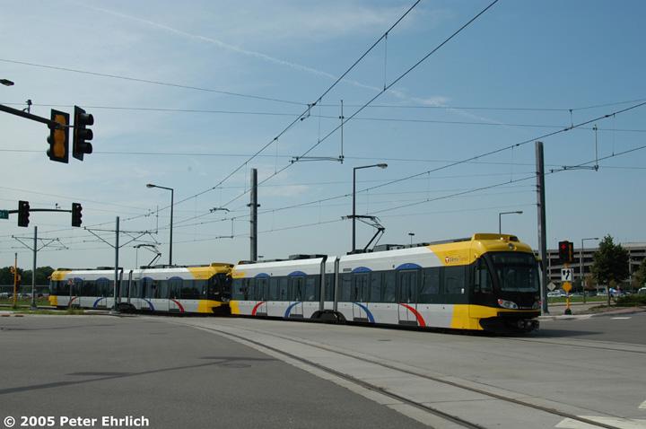 (103k, 720x478)<br><b>Country:</b> United States<br><b>City:</b> Minneapolis, MN<br><b>System:</b> MNDOT Light Rail Transit<br><b>Line:</b> Hiawatha Line<br><b>Location:</b> <b><u>28th Ave. </b></u><br><b>Car:</b> Bombardier Flexity Swift  114+123 <br><b>Photo by:</b> Peter Ehrlich<br><b>Date:</b> 9/4/2005<br><b>Notes:</b> Outbound train at the 28th Avenue/82nd Street intersection just beyond 28th Avenue Station.<br><b>Viewed (this week/total):</b> 1 / 1697