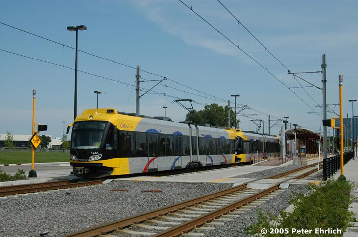 (144k, 720x478)<br><b>Country:</b> United States<br><b>City:</b> Minneapolis, MN<br><b>System:</b> MNDOT Light Rail Transit<br><b>Line:</b> Hiawatha Line<br><b>Location:</b> <b><u>28th Ave. </b></u><br><b>Car:</b> Bombardier Flexity Swift  123+114 <br><b>Photo by:</b> Peter Ehrlich<br><b>Date:</b> 9/4/2005<br><b>Notes:</b> Outbound train at/leaving 28th Avenue Station.<br><b>Viewed (this week/total):</b> 0 / 1518