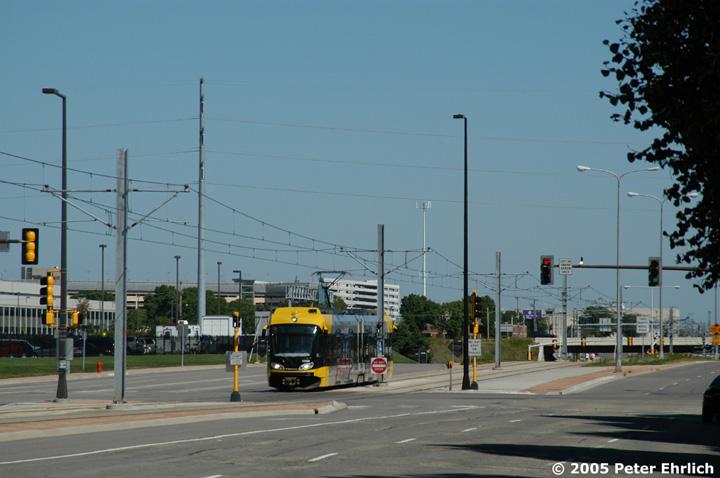 (116k, 720x478)<br><b>Country:</b> United States<br><b>City:</b> Minneapolis, MN<br><b>System:</b> MNDOT Light Rail Transit<br><b>Line:</b> Hiawatha Line<br><b>Location:</b> 34th Avenue/American Blvd. <br><b>Car:</b> Bombardier Flexity Swift  105 <br><b>Photo by:</b> Peter Ehrlich<br><b>Date:</b> 8/28/2005<br><b>Notes:</b> LRVs at 34th Avenue/American Blvd. outbound.<br><b>Viewed (this week/total):</b> 0 / 1409