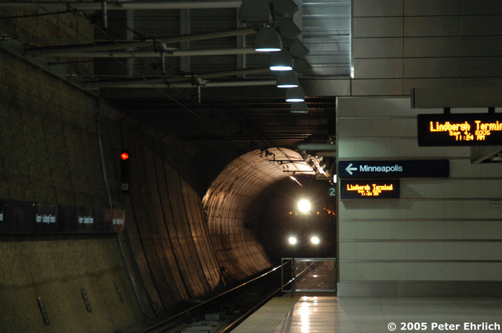 (120k, 720x478)<br><b>Country:</b> United States<br><b>City:</b> Minneapolis, MN<br><b>System:</b> MNDOT Light Rail Transit<br><b>Line:</b> Hiawatha Line<br><b>Location:</b> <b><u>Airport-Lindbergh Terminal </b></u><br><b>Car:</b> Bombardier Flexity Swift  103 <br><b>Photo by:</b> Peter Ehrlich<br><b>Date:</b> 9/4/2005<br><b>Notes:</b> Train approaching/at Lindbergh Terminal Station inbound.  This is the station serving the major airlines and is the only subterranean station on the Hiawatha Line.<br><b>Viewed (this week/total):</b> 0 / 2479