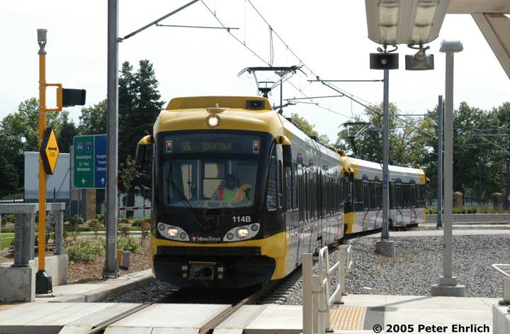 (163k, 720x471)<br><b>Country:</b> United States<br><b>City:</b> Minneapolis, MN<br><b>System:</b> MNDOT Light Rail Transit<br><b>Line:</b> Hiawatha Line<br><b>Location:</b> <b><u>Airport-Humphrey Terminal </b></u><br><b>Car:</b> Bombardier Flexity Swift  114+123 <br><b>Photo by:</b> Peter Ehrlich<br><b>Date:</b> 9/4/2005<br><b>Notes:</b> Approaching Humphrey Terminal Station inbound.<br><b>Viewed (this week/total):</b> 0 / 1759
