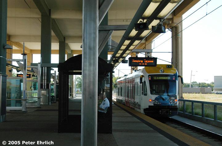 (129k, 720x476)<br><b>Country:</b> United States<br><b>City:</b> Minneapolis, MN<br><b>System:</b> MNDOT Light Rail Transit<br><b>Line:</b> Hiawatha Line<br><b>Location:</b> <b><u>Airport-Humphrey Terminal </b></u><br><b>Car:</b> Bombardier Flexity Swift  115 <br><b>Photo by:</b> Peter Ehrlich<br><b>Date:</b> 8/27/2005<br><b>Notes:</b> Humphrey Terminal Station outbound.  Trailing view.<br><b>Viewed (this week/total):</b> 5 / 1952