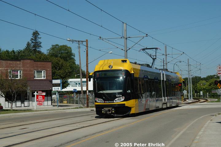 (137k, 720x478)<br><b>Country:</b> United States<br><b>City:</b> Minneapolis, MN<br><b>System:</b> MNDOT Light Rail Transit<br><b>Line:</b> Hiawatha Line<br><b>Location:</b> Minnehaha Avenue/52nd Street <br><b>Car:</b> Bombardier Flexity Swift  107 <br><b>Photo by:</b> Peter Ehrlich<br><b>Date:</b> 8/28/2005<br><b>Notes:</b> Inbound train at Minnehaha Avenue/52nd Street.<br><b>Viewed (this week/total):</b> 0 / 2302