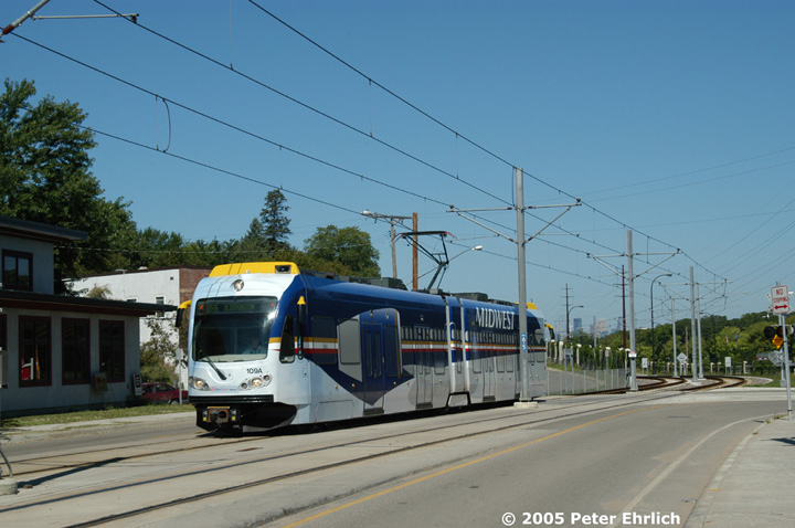 (125k, 720x478)<br><b>Country:</b> United States<br><b>City:</b> Minneapolis, MN<br><b>System:</b> MNDOT Light Rail Transit<br><b>Line:</b> Hiawatha Line<br><b>Location:</b> Minnehaha Avenue/52nd Street <br><b>Car:</b> Bombardier Flexity Swift  109 <br><b>Photo by:</b> Peter Ehrlich<br><b>Date:</b> 8/28/2005<br><b>Notes:</b> Outbound train at Minnehaha Avenue/52nd Street.<br><b>Viewed (this week/total):</b> 1 / 1680