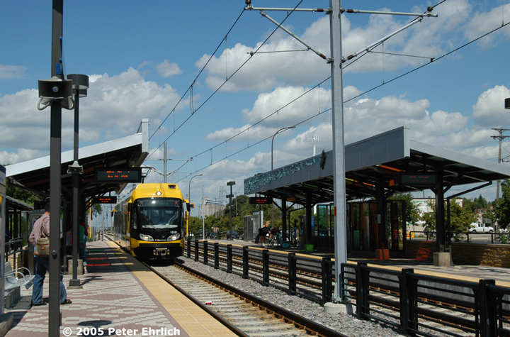 (163k, 720x475)<br><b>Country:</b> United States<br><b>City:</b> Minneapolis, MN<br><b>System:</b> MNDOT Light Rail Transit<br><b>Line:</b> Hiawatha Line<br><b>Location:</b> <b><u>46th Street </b></u><br><b>Car:</b> Bombardier Flexity Swift  105 <br><b>Photo by:</b> Peter Ehrlich<br><b>Date:</b> 8/28/2005<br><b>Notes:</b> Arriving 46th Street Station outbound.<br><b>Viewed (this week/total):</b> 0 / 1217