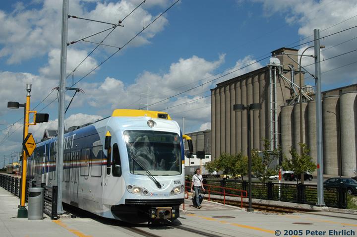 (152k, 720x478)<br><b>Country:</b> United States<br><b>City:</b> Minneapolis, MN<br><b>System:</b> MNDOT Light Rail Transit<br><b>Line:</b> Hiawatha Line<br><b>Location:</b> <b><u>38th Street </b></u><br><b>Car:</b> Bombardier Flexity Swift  109 <br><b>Photo by:</b> Peter Ehrlich<br><b>Date:</b> 8/28/2005<br><b>Notes:</b> Leaving 38th Street Station outbound.<br><b>Viewed (this week/total):</b> 4 / 1519
