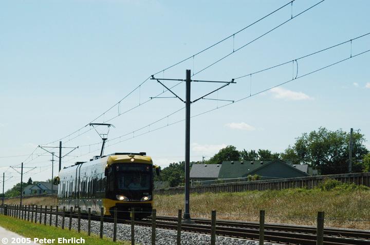 (119k, 720x478)<br><b>Country:</b> United States<br><b>City:</b> Minneapolis, MN<br><b>System:</b> MNDOT Light Rail Transit<br><b>Line:</b> Hiawatha Line<br><b>Location:</b> <b><u>38th Street </b></u><br><b>Car:</b> Bombardier Flexity Swift  113 <br><b>Photo by:</b> Peter Ehrlich<br><b>Date:</b> 8/28/2005<br><b>Notes:</b> South of 38th Street inbound.<br><b>Viewed (this week/total):</b> 1 / 1302