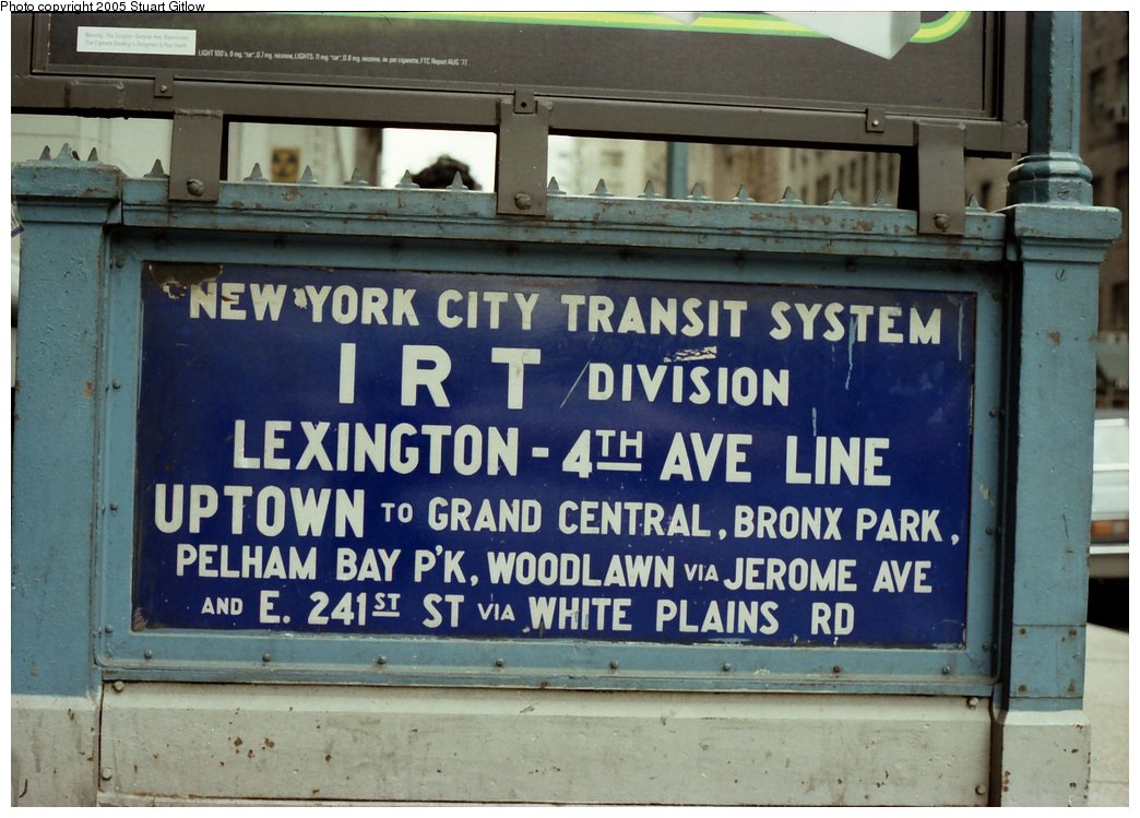 (158k, 1044x749)<br><b>Country:</b> United States<br><b>City:</b> New York<br><b>System:</b> New York City Transit<br><b>Line:</b> IRT East Side Line<br><b>Location:</b> 23rd Street <br><b>Photo by:</b> Stuart Gitlow<br><b>Date:</b> 10/1977<br><b>Notes:</b> Sign at entry to IRT Lex subway.<br><b>Viewed (this week/total):</b> 1 / 4113