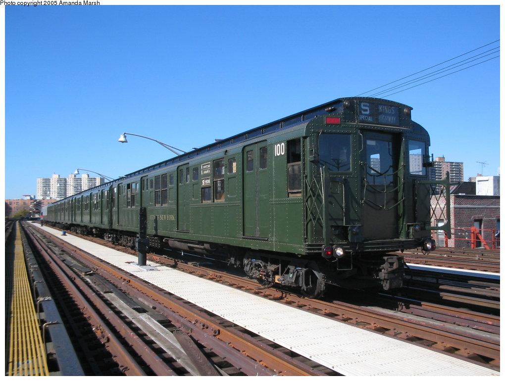 (160k, 1020x770)<br><b>Country:</b> United States<br><b>City:</b> New York<br><b>System:</b> New York City Transit<br><b>Line:</b> BMT Brighton Line<br><b>Location:</b> Brighton Beach <br><b>Route:</b> Fan Trip<br><b>Car:</b> R-1 (American Car & Foundry, 1930-1931) 100 <br><b>Photo by:</b> Amanda Marsh<br><b>Date:</b> 10/22/2004<br><b>Viewed (this week/total):</b> 1 / 2676