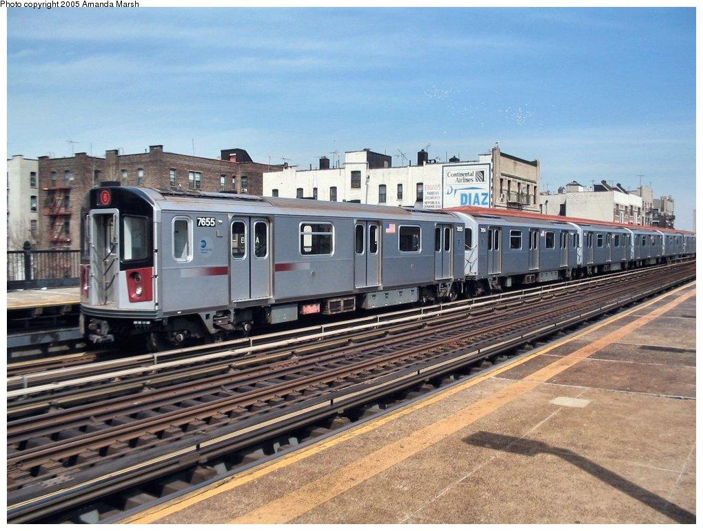 (175k, 1020x770)<br><b>Country:</b> United States<br><b>City:</b> New York<br><b>System:</b> New York City Transit<br><b>Line:</b> IRT Pelham Line<br><b>Location:</b> Elder Avenue <br><b>Route:</b> 6<br><b>Car:</b> R-142A (Option Order, Kawasaki, 2002-2003)  7655 <br><b>Photo by:</b> Amanda Marsh<br><b>Date:</b> 4/17/2004<br><b>Viewed (this week/total):</b> 0 / 3621