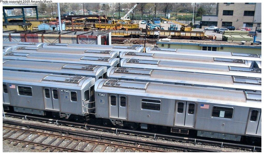 (174k, 1020x602)<br><b>Country:</b> United States<br><b>City:</b> New York<br><b>System:</b> New York City Transit<br><b>Location:</b> Westchester Yard<br><b>Car:</b> R-142A (Primary Order, Kawasaki, 1999-2002)  7342 <br><b>Photo by:</b> Amanda Marsh<br><b>Date:</b> 4/17/2004<br><b>Viewed (this week/total):</b> 0 / 4370