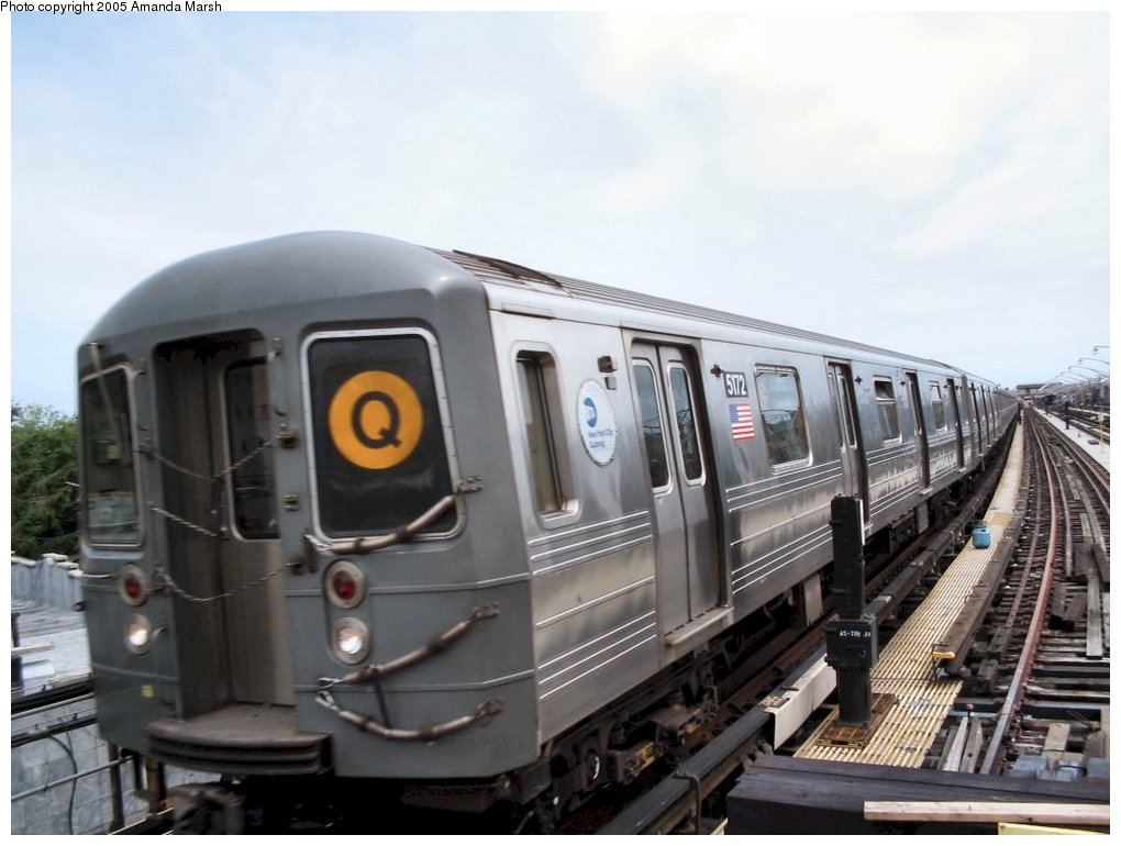 (127k, 1020x770)<br><b>Country:</b> United States<br><b>City:</b> New York<br><b>System:</b> New York City Transit<br><b>Line:</b> BMT Brighton Line<br><b>Location:</b> Ocean Parkway <br><b>Route:</b> Q<br><b>Car:</b> R-68A (Kawasaki, 1988-1989)  5172 <br><b>Photo by:</b> Amanda Marsh<br><b>Date:</b> 7/25/2004<br><b>Viewed (this week/total):</b> 0 / 3070