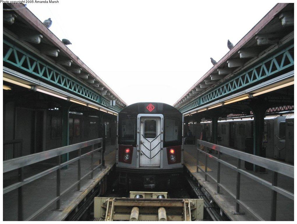 (115k, 1020x770)<br><b>Country:</b> United States<br><b>City:</b> New York<br><b>System:</b> New York City Transit<br><b>Line:</b> IRT Pelham Line<br><b>Location:</b> Pelham Bay Park <br><b>Route:</b> 6<br><b>Car:</b> R-142 or R-142A (Number Unknown)  <br><b>Photo by:</b> Amanda Marsh<br><b>Date:</b> 3/26/2004<br><b>Viewed (this week/total):</b> 0 / 6829